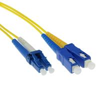 ACT 0,5 meter LSZH Singlemode 9/125 OS2 glasvezel patchkabel duplex met LC en SC connectoren Fiber optic kabel - Geel