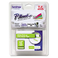 """Brother TZ Standard Adhesive Laminated Labeling Tape, 1/2"""" x 16.4 ft., White / Lime Green Labelprinter tape - Wit"""