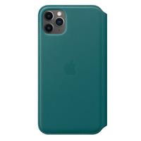 Apple Leren Folio-hoesje voor iPhone 11 Pro Max - Pauwenblauw - Groen