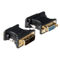 ACT Verloop adapter DVI-A male naar VGA female Kabel adapter - Zwart,Goud