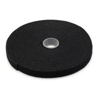 Digitus Hook-and-loop fastener tape fabric, 10m x 15mm x 2.6mm, on roll, bl Plakband - Zwart