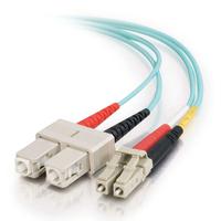C2G 1m LC-SC 10Gb 50/125 OM3 Duplex Multimode PVC Fibre Optic Cable (LSZH) - Aqua Fiber optic kabel - Turkoois