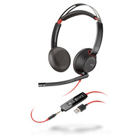 POLY Blackwire C5220 Headset - Zwart, Rood