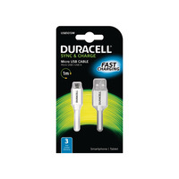 Duracell Sync/Charge Cable 1 Metre White Chargeur - Blanc