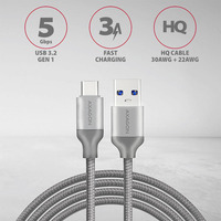 Axagon USB-C USB-A 3.2 Gen 1 cable, 1 m Câble USB - Gris