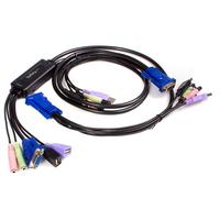StarTech.com Câble Commutateur KVM 2 Ports VGA, USB et Audio - Switch KVM - 2048x1536 Câbles KVM - Noir