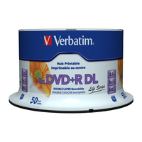 Verbatim DVD+R Double Layer Inkjet Printable 8x Life Series, 50pcs DVD vierge