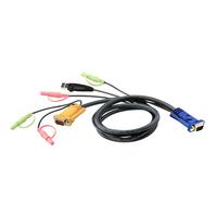 Aten Câble KVM USB 3m avec SPHD 3 en 1 et audio Câbles KVM - Noir