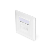 Digitus CAT 6A Class EA network outlet, shielded, 2x RJ45 LSA, pure white, flush mount, vert. cable install. Dop .....