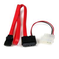 StarTech.com 50 cm Slimline SATA naar SATA met LP4 Voedingskabel Adapter ATA kabel - Rood