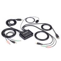 Black Box 2PORT 4K60 DISPLAYPORT CABLE KVM switch - Zwart