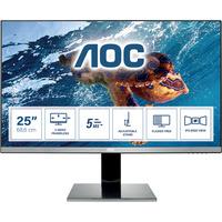 AOC 25 inch 2560x1440@60Hz 5 ms IPS HDMI 1.4 x 1, VGA, DVI, DisplayPort 1.2 x 1 Monitor - Zwart,Zilver