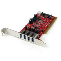 StarTech.com 4-poorts PCI SuperSpeed USB 3.0-adapterkaart met SATA-/SP4-voeding Interfaceadapter - Rood