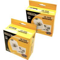 Fellowes CD enveloppen papier, 100pk - wit - Transparant,Wit