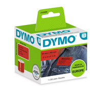 DYMO LW Coloured Shipping/Name Badge Label - 54x101 - 1 Roll á 220 Labels - 2133399 Etiket - Rood