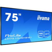 "Iiyama 75""(3840 x 2160), PS M+ LED, 3000 cd/m², DVI, HDMI, RS-232, 538 W Public Display - Zwart"