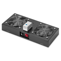Digitus Roof vent. unit, wall mounting cabinets 2 fans, thermostat, switch, black (RAL 9005) Hardware koeling .....