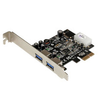 StarTech.com 2-poorts PCI Express (PCIe) SuperSpeed USB 3.0-kaartadapter met UASP LP4-voeding .....