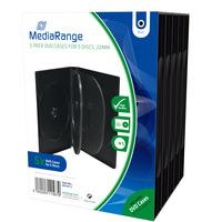 MediaRange 5-Pack DVD Cases for 5 Discs, Black - Zwart