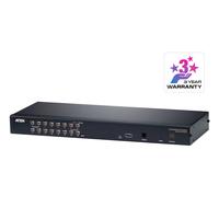 Aten 16 ports Multi-Interface Cat 5 sur IP accès de partage 1 local/distant Commutateur KVM - Noir
