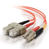 C2G 1m LC/SC LSZH Duplex 50/125 Multimode Fibre Patch Cable Fiber optic kabel - Oranje