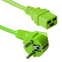 ACT Stroomkabel randaarde stekker CEE7/7male (haaks) - C19 groen 0.60m Electriciteitssnoer