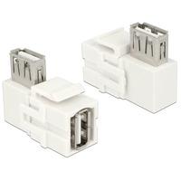 DeLOCK Keystone Module USB 2.0 A female > USB 2.0 A female, 90° angled, white - Blanc