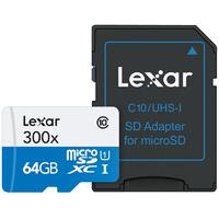 Lexar 64GB microSDXC Flashgeheugen - Zwart, Blauw, Wit