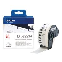 Brother DK Continue Lengte Tape: 12 mm - Thermisch papier - wit (30.48m) Labelprinter tape - Zwart, Wit