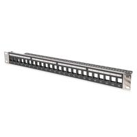 Digitus Modular Patch Panel, shielded, 24-port blank, 1U, Rack Mount, transp. label field, black Patchpaneel - .....