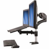 StarTech.com Monitor arm met laptop standaard- One-Touch verstelbare hoogte Monitorarm - Aluminium,Zwart