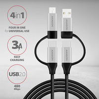 Axagon 4in1 USB-C+microUSB / USB-C+USB-A cable, 1m USB kabel - Zwart,Zilver