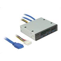 DeLOCK 3.5″, 5 slots, USB 3.0 x 4 Kaartlezer - Zwart,Metallic