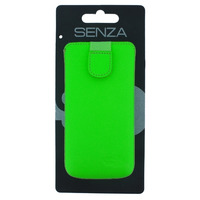SENZA Leather Slide Case Neon Green Size M-Large