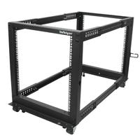 StarTech.com 12U open-frame serverrack met 4 stijlen met verstelbare diepte incl. zwenkwielen/stelpoten en .....