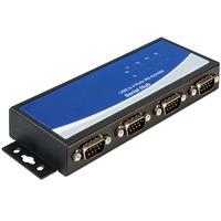 DeLOCK Adapter USB 2.0 to 4 x serial RS-422/485 Seriële coverters/repeaters/isolatoren - Zwart