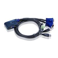 Aten à câble VGA/audio USB 2 ports (0,9m) Commutateur KVM - Noir