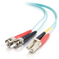 C2G 2m LC-ST 10Gb 50/125 OM3 Duplex Multimode PVC Fibre Optic Cable (LSZH) - Aqua Câble de fibre optique - Turquoise