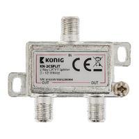 König 2-way CATV F splitter 5 - 1218 MHz Répartiteur de câbles - Argent