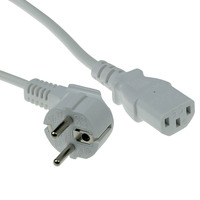 ACT Powercord mains connector CEE7/7 male, C13 white 5 m Cordon d'alimentation - Blanc