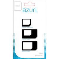 Azuri Simcard adaptor 3 in 1 (SIM - MICROSIM - NANOSIM) SIM / flash adaptateurs de carte mémoire - Noir