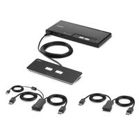 Belkin 2-Port Dual Head DP Modular Secure PP4.0 W/ Remote KVM switch - Zwart
