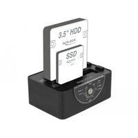 "DeLOCK 2x SATA 6 Gb/s, HDD/SSD, 2.5""/3.5"" HDD/SSD docking stations - Zwart"