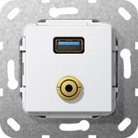 GIRA Basiselement USB 3.0 Type A en mini-jack 3.5 mm Verloopkabel Dop aansluitdoos - Wit