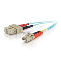 C2G 2m LC-SC 10Gb 50/125 OM3 Duplex Multimode PVC Fibre Optic Cable (LSZH) - Aqua Fiber optic kabel - Turkoois