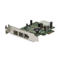 StarTech.com 3-poort 2b 1a Low Profile 1394 PCI Express FireWire Adapterkaart Interfaceadapter - Groen