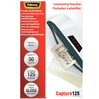 Fellowes 125 micron glanzend - 54x86mm Lamineerhoes - Transparant