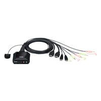 Aten USB met 2 poorten 4K HDMI-kabel KVM-schakelaar met externe poortselectieknop KVM switch - Zwart