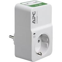 APC Tussenstekker met overspanningsbeveiliging 3680W 1x stopcontact + 2x USB Spanningsbeschermer - Wit