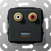 GIRA Basiselement cinch audio en USB 3.0 Type A Verloopkabel Dop aansluitdoos - Zwart
